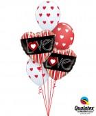 """Bukiet 127# - 18"""" / 46cm L(Heart)VE Red Stripes Qualatex #21698_2, 18080_3"""