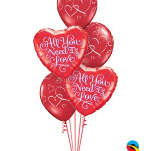 "Bukiet 125# - 18"" / 46cm All You Need Is Love Qualatex #21827_2, 40862_3"