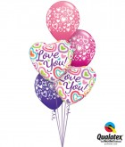 """Bukiet 126# - 18"""" / 46cm Love You! Fuzzy Hearts Qualatex #21805_2, 40863_3"""