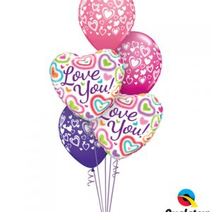 "Bukiet 126# - 18"" / 46cm Love You! Fuzzy Hearts Qualatex #21805_2, 40863_3"