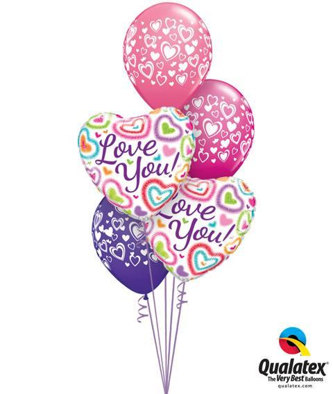 Bukiet 126# – 18″ / 46cm Love You! Fuzzy Hearts Qualatex #21805_2, 40863_3