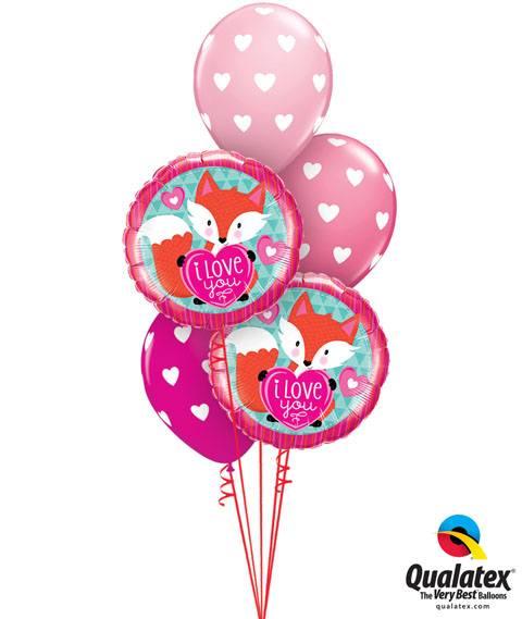 130# Bukiet – 18″ / 46cm Love You Foxy Heart Qualatex #23459_2, 18078_3