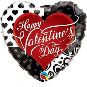 "18"" / 46cm Valentine's Black Hearts Qualatex #21626"