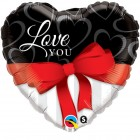 "18"" / 46cm Love You Red Ribbon Qualatex #21647"