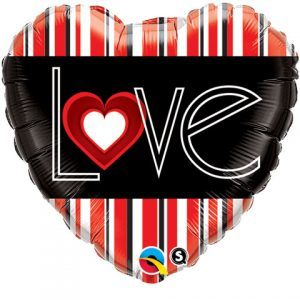 "18"" / 46cm I(Heart)VE Red Stripes Qualatex #21698"