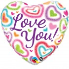 "18"" / 46cm Love You! Fuzzy Hearts Qualatex #21805"