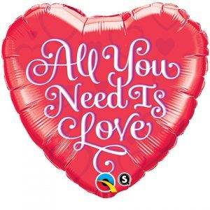 "18"" / 46cm All You Need Is Love Red Qualatex #21827"