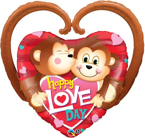 "39"" / 99cm Happy Love Day Monkeys Qualatex #21839"