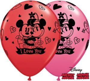 11″ / 28cm Mickey & Minnie I Love You Qualatex #23186-1