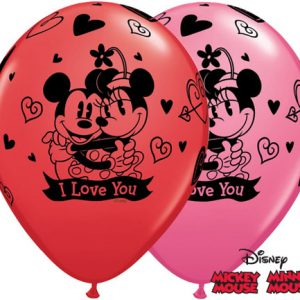 "11"" / 28cm 25ct / 25szt Mickey & Minnie I Love You Qualatex #23186"