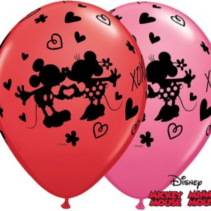 "11"" / 28cm 25ct / 25szt Mickey & Minnie XOXO Qualatex #23187"