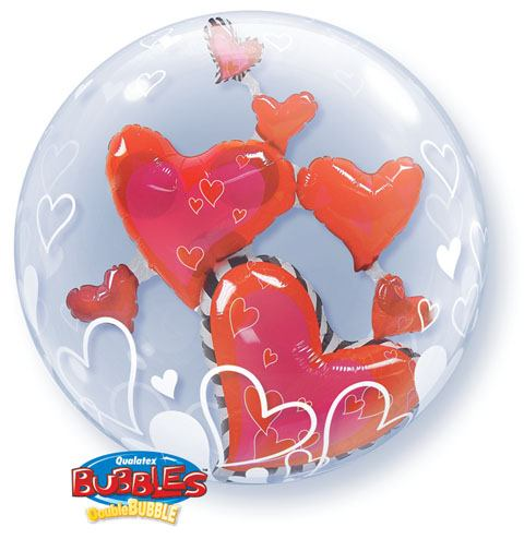 24″ / 61cm Lovely Floating Hearts Qualatex #68808