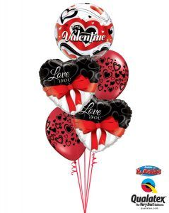 "Bukiet 118# - 22"" / 56cm To My Valentine Banner Hearts Qualatex #33907, 21647_2, 40863_2"
