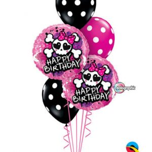 "Bukiet 194# - 18"" / 46cm Birthday Skull Bow & Crossbones Qualatex #41588_2, 14218_3"