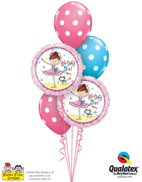 "Bukiet 193# - 18"" / 46cm Rachel Ellen - Birthday Girl Ballerina Qualatex #50542_2, 86421_3"