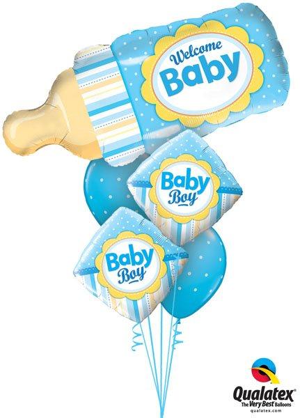 "Bukiet 166# - 39"" / 99cm Welcome Baby Bottle Blue Qualatex #16472, 14637_2, 18466_2"