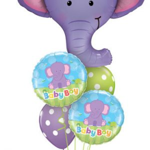 "Bukiet 177# - 39"" / 99cm Ellie The Elephant Qualatex #16136, 13916_2, 14248_2"