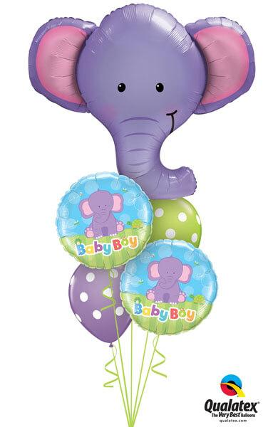 Bukiet 177# – 39″ / 99cm Ellie The Elephant Qualatex #16136, 13916_2, 14248_2
