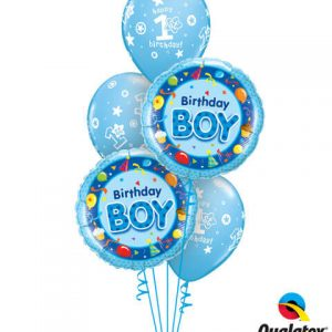 "Bukiet 192# - 18"" / 46cm Birthday Boy Blue Qualatex #26269_2, 41186_3"
