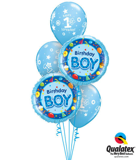 "192# Bukiet - 18"" / 46cm Birthday Boy Blue Qualatex #26269_2, 41186_3"
