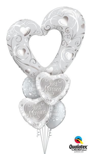 Bukiet 157# – 42″ / 106cm Hearts & Filigree Pearl White Qualatex#16304, 15816_2, 19136_2