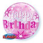 """22"""" / 56cm Birthday Pink Starburst Sparkle Qualatex #43121"""