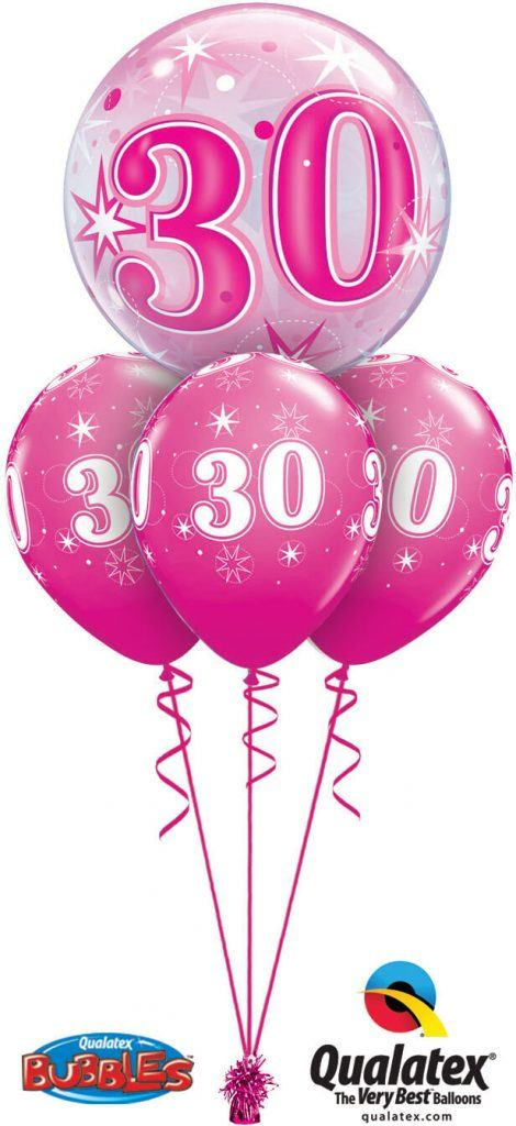 43124 44924 30th Birthday Pink Sparkle Bubble Layer