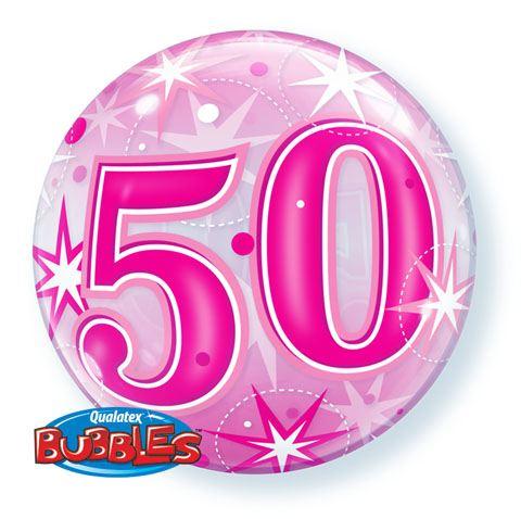 22″ / 56cm 50 Pink Starburst Sparkle Qualatex #43126