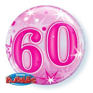 """22"""" / 56cm 60 Pink Starburst Sparkle Qualatex #43127"""
