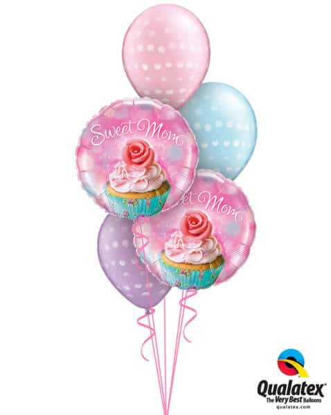 "Bukiet 249# - 18"" / 46cm To a Wonderful Mum Cupcake Qualatex #90585_2, 14248_3"