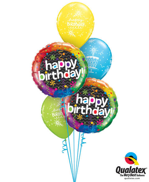 Bukiet 207# – 18″ / 45cm Birthday Dazzling Party Qualatex #16666_2, 43059_3