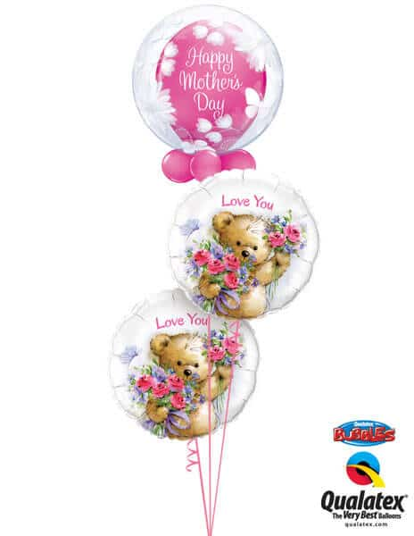 "Bukiet 262# - 20"" / 51cm Deco Bubble - Butterflies & Flowers Qualatex #11560,11978, 90589_2"