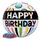 "22"" / 56cm Birthday Black Band & Dots Qualatex #25720"