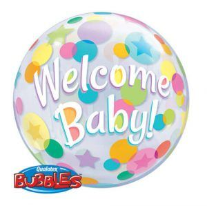 """22"""" / 56cm Welcome Baby Colourful Dots Qualatex #25860"""