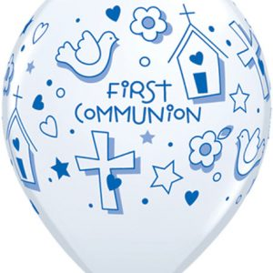 "11"" / 28cm 25ct / 25szt First Communion Symbols - Boy Qualatex #60983"