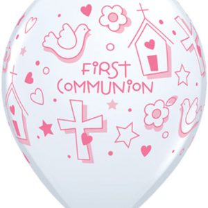 "11"" / 28cm 25ct / 25szt First Communion Symbols - Girl Qualatex #60985"