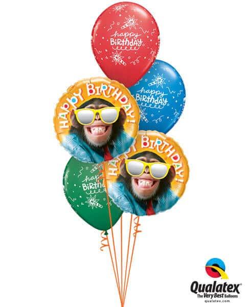 Bukiet 274# - 18″ / 45cm Birthday Smilin' Chimp Qualatex #25496_2, 43059_3