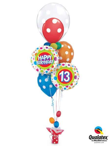 Bukiet 314# – 20″ / 51cm Deco Bubble Big Polka Dot All Around Qualatex #16872, 41136, 41132, 18064_2