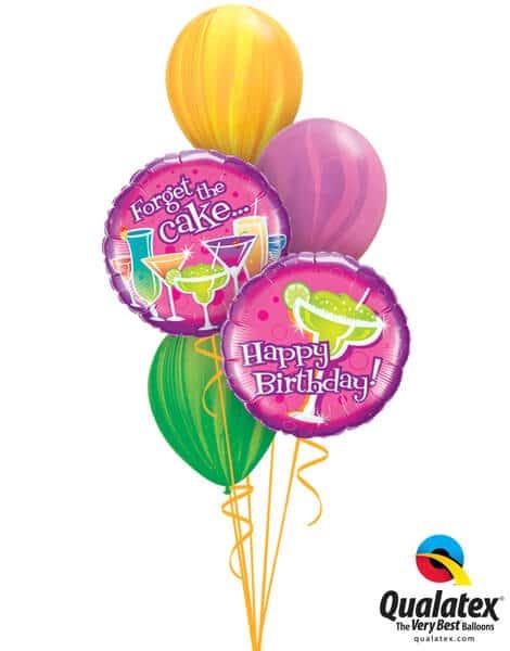 Bukiet 294# - 18″ / 46cm Birthday - Forget The Cake Qualatex #33331_2, 91541, 91543, 91539