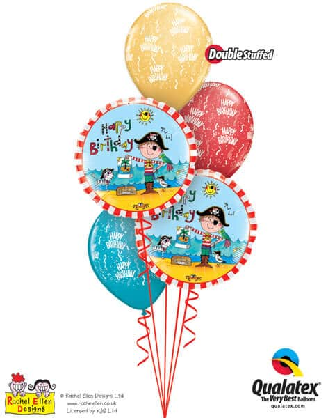 Bukiet 305# - 18″ / 46cm Rachel Ellen - Birthday Pirate Qualatex #47671_2, 43010_3