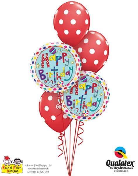 Bukiet 304# - 18″ / 46cm Rachel Ellen - Birthday Polka Dots & Stripes Qualatex #50404_2, 18074_3