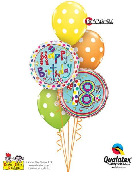 Bukiet 303# - 18″ / 46cm Rachel Ellen - 18 Polka Dots & Stripes Qualatex #50308, 50404, 14248_3