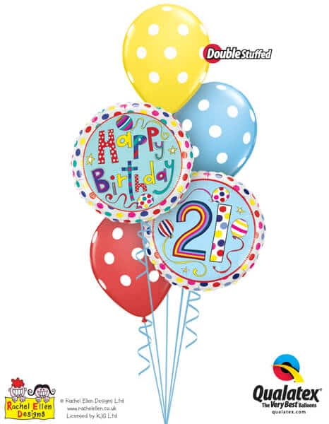 Bukiet 302# - 18″ / 46cm Rachel Ellen - 21 Polka Dots & Stripes Qualatex #50337, 50404, 14248_3