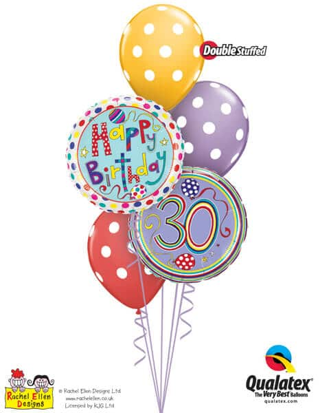 Bukiet 301# - 18″ / 46cm Rachel Ellen - 30 Polka Dots & Stripes Qualatex #50421, 50404, 14248_3