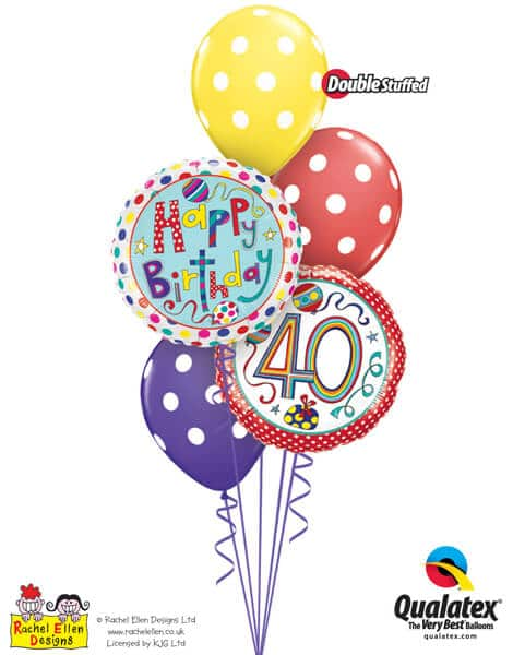 Bukiet 300# – 18″ / 46cm Rachel Ellen – 40 Polka Dots & Stripes Qualatex #50409, 50404, 14248_3