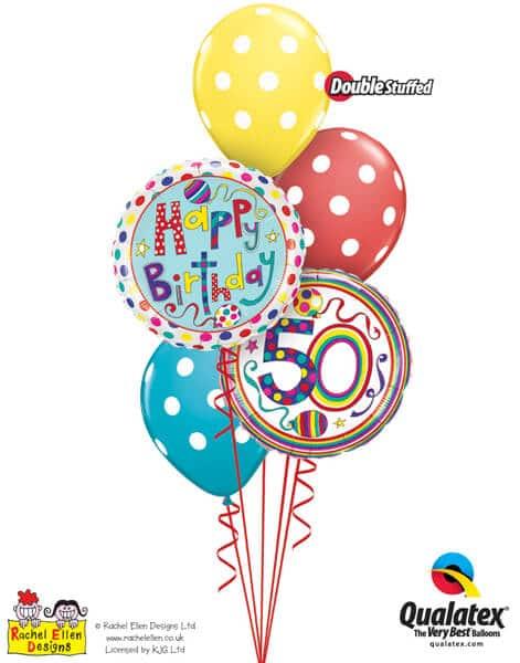 Bukiet 299# - 18″ / 46cm Rachel Ellen - 50 Polka Dots & Stripes Qualatex #50426, 50404, 14248_3