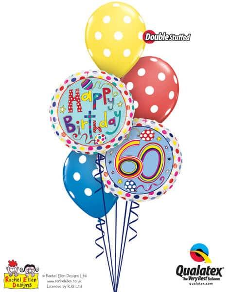 Bukiet 298# - 18″ / 46cm Rachel Ellen - 60 Polka Dots & Stripes Qualatex #50413, 50404, 14248_3