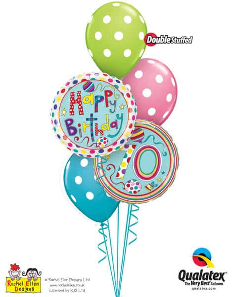 Bukiet 297# - 18″ / 46cm Rachel Ellen - 70 Polka Dots & Stripes Qualatex #50417, 50404, 14248_3
