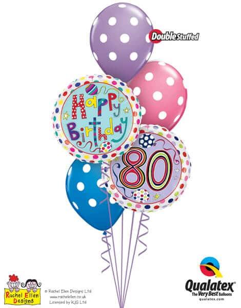 Bukiet 296# - 18″ / 46cm Rachel Ellen - 80 Polka Dots & Stripes Qualatex #50430, 50404, 14248_3