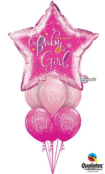 Bukiet 307# - 36″ / 91cm Welcome Baby Girl Stars Qualatex #16577, 51814_6